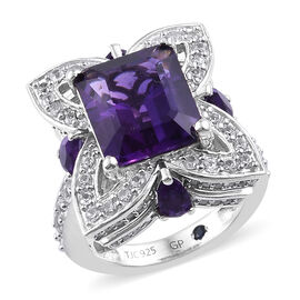 GP Amethyst (Oct 12x10 mm), Natural Cambodian Zircon and Blue Sapphire Ring in Platinum Overlay Sterling Silver 8.250 Ct.