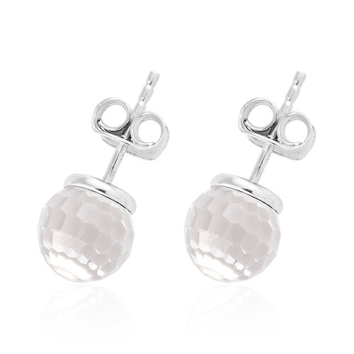 J Francis - Crystal from Swarovski - White Colour Crystal (Disco Ball) Stud Earrings (with Push Back) in Platinum Overlay Sterling Silver