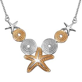 Platinum and Yellow Gold Overlay Sterling Silver Starfish Necklace (Size 18), Silver wt 7.40 Gms