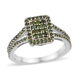 Green Diamond (Rnd) Cluster Ring in Platinum Overlay Sterling Silver 0.500 Ct.