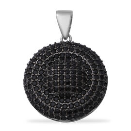 5.52 Ct Boi Ploi Black Spinel Cluster Circle Pendant in Rhodium and Black Plated Silver 4 Grams