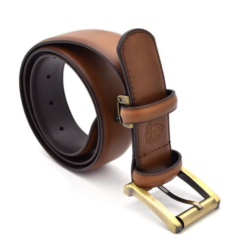 William Hunt - Traditional Buckle Leather Belt (Size 32 Inches) - Chestnut