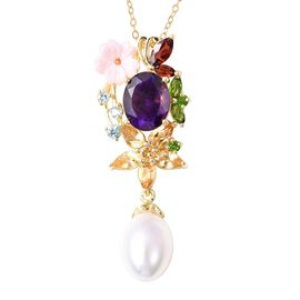 Jardin Collection - Amethyst (Ovl), Pink Mother of Pearl, Freshwater Pearl and Multi Gemstone Pendan