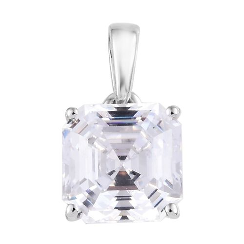 J Francis - 9K White Gold (Asscher Cut 8x8 mm) Pendant Made with SWAROVSKI ZIRCONIA