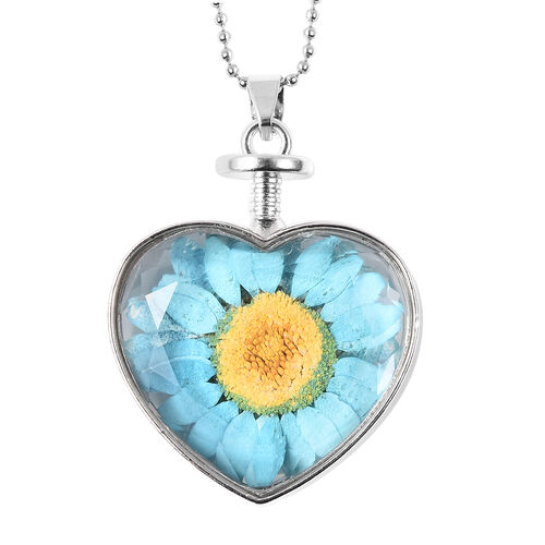 Floral Pressed Glass Heart Pendant with Chain (Size 24) in Silver Tone