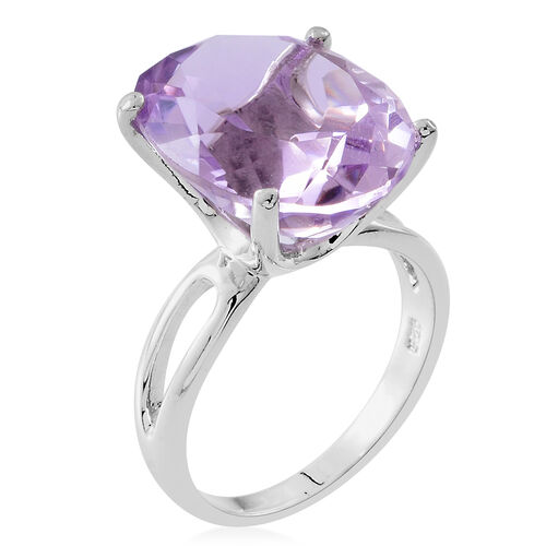 Limited Edition-Rose De France Amethyst (Ovl) Ring in Rhodium Plated Sterling Silver 16.000 Ct. Silver wt 5.45 Gms.