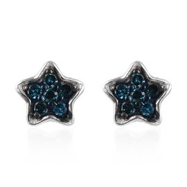 Blue Diamond Stud Star Earrings (with Push Back) in Platinum Overlay Sterling Silver 0.150 Ct.
