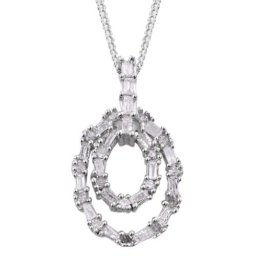 Diamond (Rnd and Bgt) Pendant With Chain in Platinum Overlay Sterling Silver 0.250 Ct.