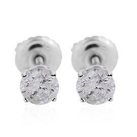 NY Close Out Deal 14K White Gold Diamond (GH-I1/I2) Stud Earrings (with Screw Back) 0.50 Ct.