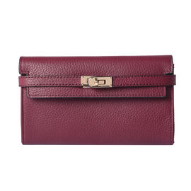 Super Soft  Genuine Leather Clutch RFID Wallet (Size 19x2x10cm)  - Purple