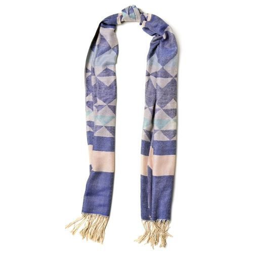 Navy, Yellow and Green Colour Diamond Pattern Scarf with Fringes(Size 200x67 Cm)