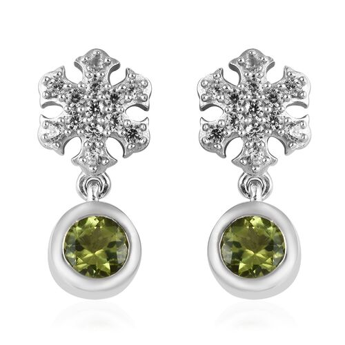 Hebei Peridot (Rnd), Natural Cambodian Zircon Snowflake Earrings (with Push Back) in Platinum Overlay Sterling Silver 1.50 Ct.