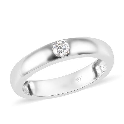 Diamond Flush Set Solitaire Band Ring in 9K White Gold 2.75 Grams I1 GH