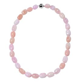 418 Ct Pink Morganite Beaded Necklace with Magnetic Lock in Rhodium Plated Silver 20 Inch