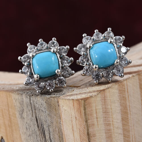AA Arizona Sleeping Beauty Turquoise (Cush 6x6 mm), Natural Cambodian Zircon Earrings (with Push Back) in Platinum Overlay Sterling Silver 3.000 Ct.
