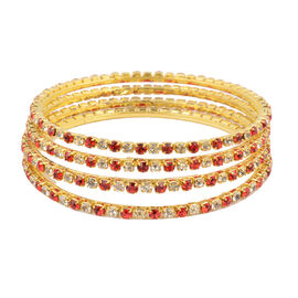 One Time Close Out - 4 Piece Set Simulated Ruby and Diamond (Rnd) Bangle (Size 8) in Yellow Gold Ton
