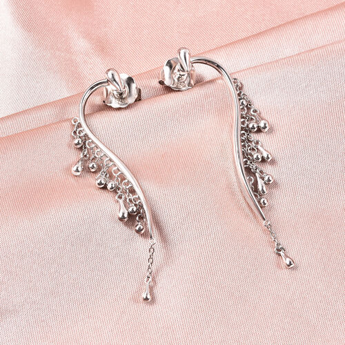 LucyQ Drip Collection - Rhodium Overlay Sterling Silver Earrings (with Push Back)