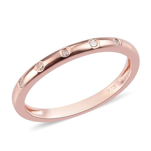 Diamond Stacker Button Band Ring in Rose Gold Plated 925 Sterling Silver