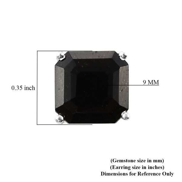 Black Tourmaline Stud Earrings (with Push Back) in Sterling Silver 2.00 Ct.