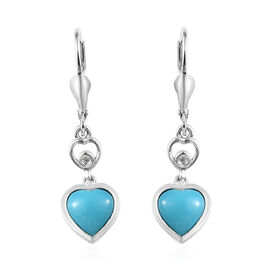 2.03 Ct Arizona Sleeping Beauty Turquoise and Zircon Heart Drop Earrings in Platinum Plated Silver