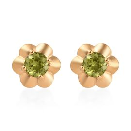 AA Hebei Peridot Floral Stud Earrings (with Push Back) in 14K Gold Overlay Sterling Silver 1.50 Ct.
