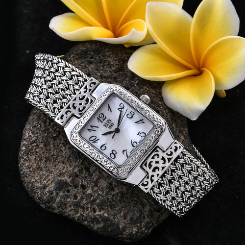 Royal Bali Collection Hand Made EON 1962 Swiss Movement Bracelet (Size 7.5) Watch in Sterling Silver, Silver wt 58.00 Gms
