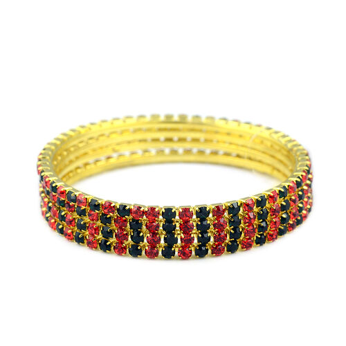 4 Piece Set Green and Red Austrian Crystal Stacker Bangle in Gold Tone 7 Inch