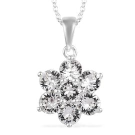 J Francis - Crystal from Swarovski White Colour Crystal (Rnd) Floral Pendant with Chain (Size 18) in