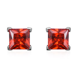 ELANZA Simulated Fire Opal Solitaire Stud Earrings in Rhodium Plated Sterling Silver