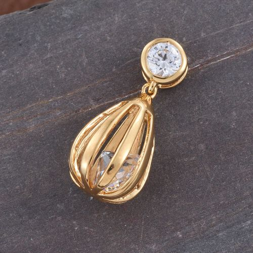 J Francis - 14K Gold Overlay Sterling Silver (Rnd) Drop Pendant Made with SWAROVSKI ZIRCONIA