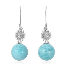 Russian Amazonite (Rnd), Natural White Cambodian Zircon Lever Back Earrings in Rhodium Overlay Sterl