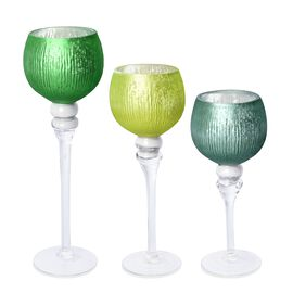 Set of 3 - Goblet Candle Holder in 3 Different Sizes - Assorted Green Colour (Baked Apple Pie Fragra