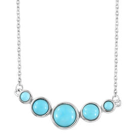 Arizona Sleeping Beauty Turquoise (Rnd) Necklace with Chain in Platinum Overlay Sterling Silver 2.250 Ct