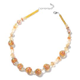 Champagne Murano Glass and Citrine Beaded Necklace in Silver Plated 26 Inch with 3 inch Extender