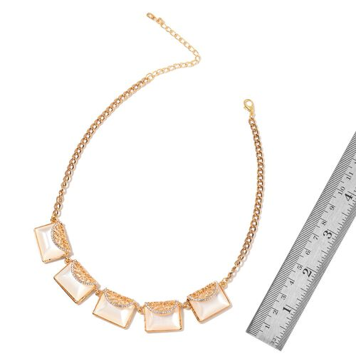 Simulated Cats Eye and White Austrian Crystal Clutch Bag Design BIB Necklace (Size 20 with 2 inch Extender) in Yellow Gold Tone