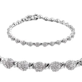 Diamond (Rnd) Bracelet (Size 7.5) in Platinum Overlay Sterling Silver 2.500 Ct, Silver wt 12.66 Gms.