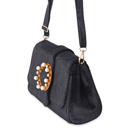 LUXE VELVET Classic Black Cross Body Bag with Glass Pearl Pendant and Adjustable Shoulder Strap (24x16x9 cm)