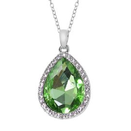 Simulated Emerald (Pear), Austrian White Crystal Drop Pendant With Chain (Size 20 with 2 inch Extend