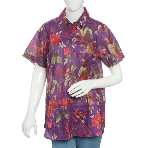 Designer Inspired-100% Cotton Purple and Multi Colour Flower and Birds Pattern Apparel (Size 77x57 C