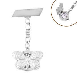 STRADA Japanese Movement Water Resistant Butterfly Shaped Pocket Watch in Silver Tone