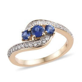 9K Yellow Gold AA Royal Ceylon Sapphire (Rnd), Natural Cambodian Zircon Ring 1.000 Ct.