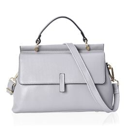 Super Soft100% Genuine Leather Grey Colour Tote Bag with External Zipper Pocket and Removable Should