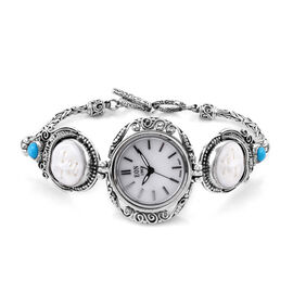 Princess Bali Collection OX Bone Carved Face and Arizona Sleeping Beauty Turquoise Watch (Size 8 - 8