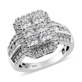 J Francis Platinum Overlay Sterling Silver Cluster Ring Made with SWAROVSKI ZIRCONIA 3.20 Ct, Silver