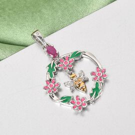 GP Itallian garden Leaf & Flower Collection - African Ruby, Natural Cambodian Zircon and Kanchanaburi Blue Sapphire Bee Floral Pendant in Platinum and Yellow Gold Overlay Sterling Silver