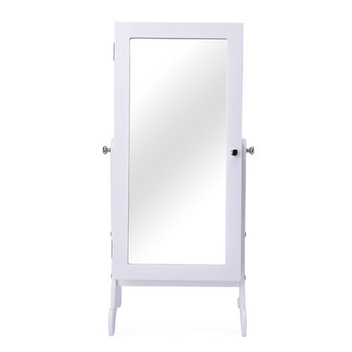 White Colour MDF Standing Jewellery Cabinet with Mirror (Size 60.5x30x20 Cm)