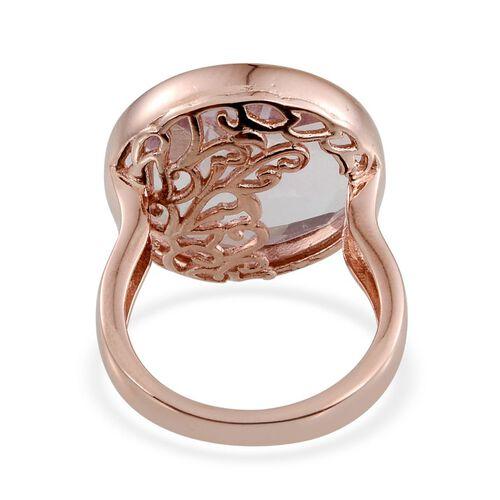 GP Rose De France Amethyst (Rnd 17.00 Ct), Kanchanaburi Blue Sapphire Ring in Rose Gold Overlay Sterling Silver 17.010 Ct.