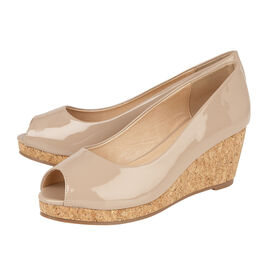 Lotus Patent Odina Peep-Toe Wedge Shoes in Nude
