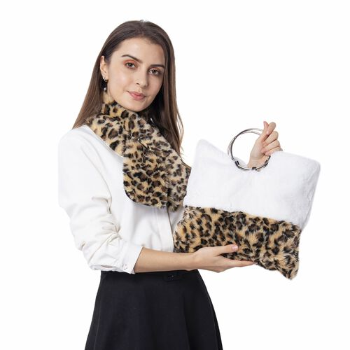 Super Auction-Leopard Skin Pattern Faux Fur Handbag (Size 34x30 Cm) and Scarf (Size 10x92Cm)