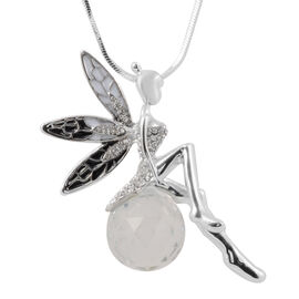 White Austrian Crystal and Simulated Diamond Enamelled Fairy Necklace 29 with 2.5 inch Extender